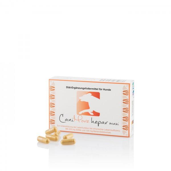CaniMove hepar maxi ist ein Diät-Ergänzungsfuttermittel zur Unterstützung der Leberfunktion bei chronischen Leberproblemen (Leberinsuffizienz).